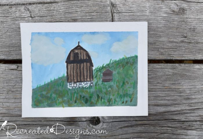 Old barns painted with watercolours