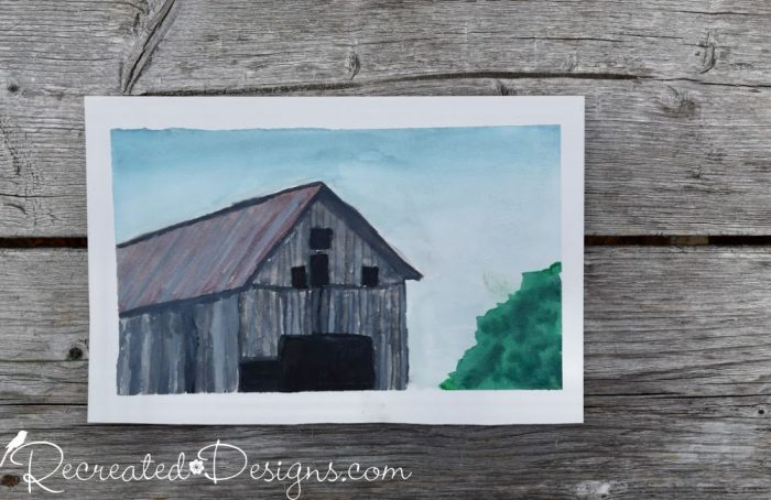 an old barn painted with watercolours