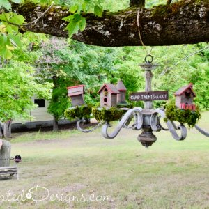 Chandelier turned into bird houses