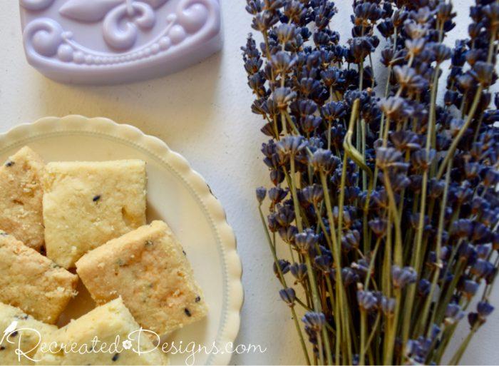 Lavender soap, lavender shortbread and dried Lavender