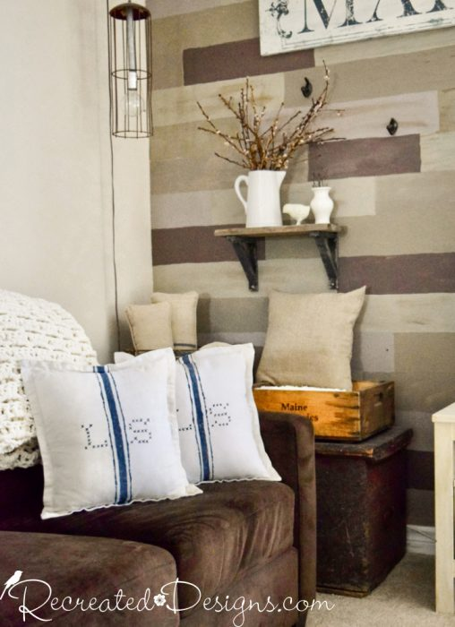 monogramed painted pillow covers