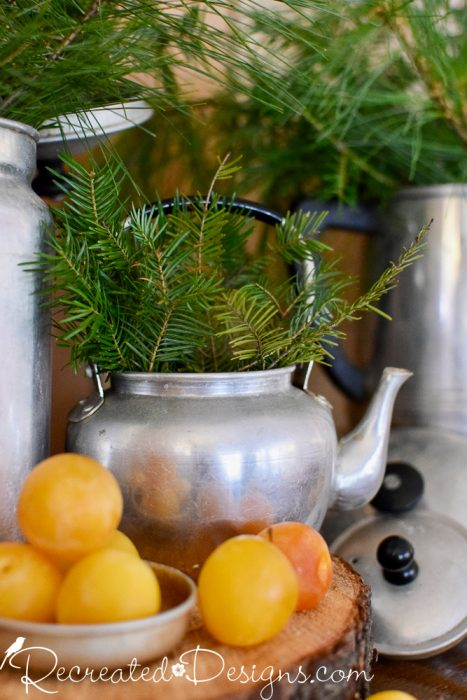 yellow plums with a vintage tea pot an cut evergreens