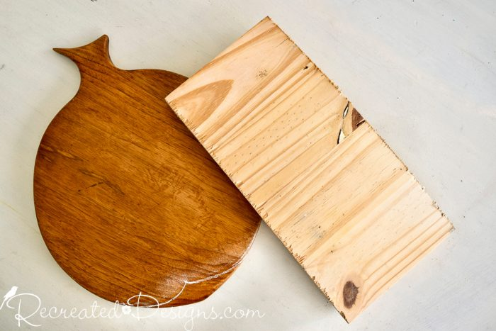 thrift store cutting board and scrap wood