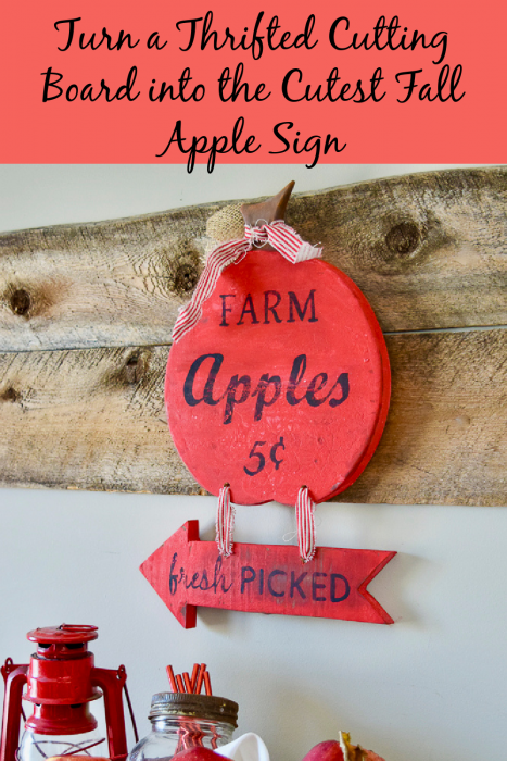 thrifted cutting board and scrap wood turned into a fall apple sign
