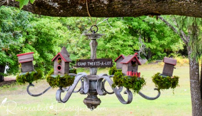 DIY birdhouse chandelier upcycle
