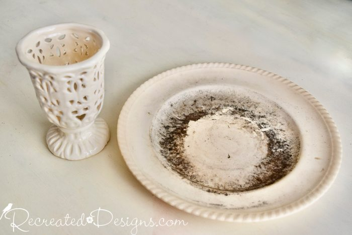 dirty ironstone plate and vase