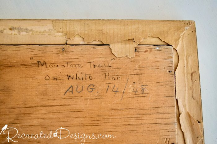 writing on the back of a painting done in 1948