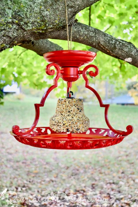 turning an old light fixture into a bird feeder