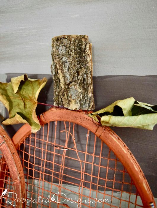 tree bark used as a pumpkin stem