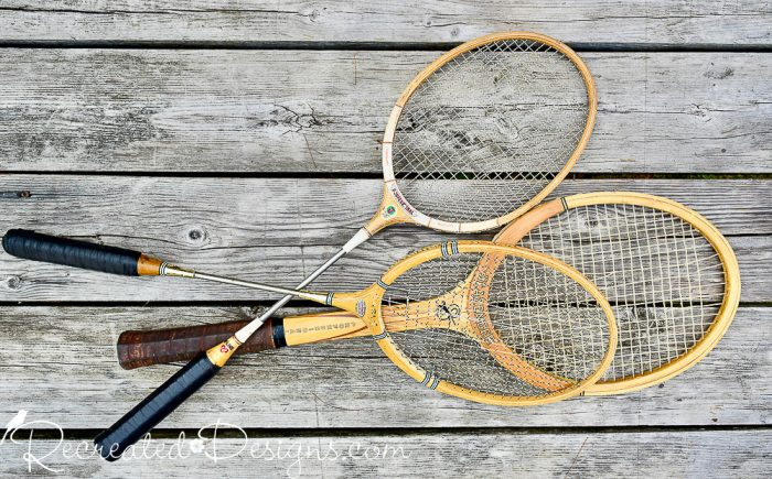 old tennis and badminton rackets