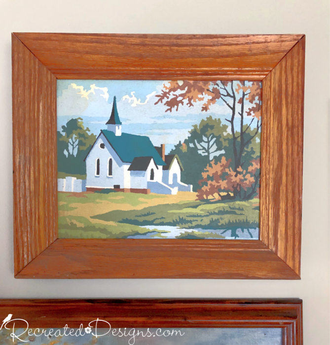 vintage paint by number of a church