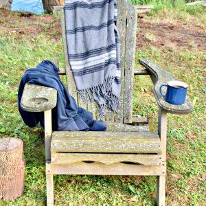 adirondack chair at the lake