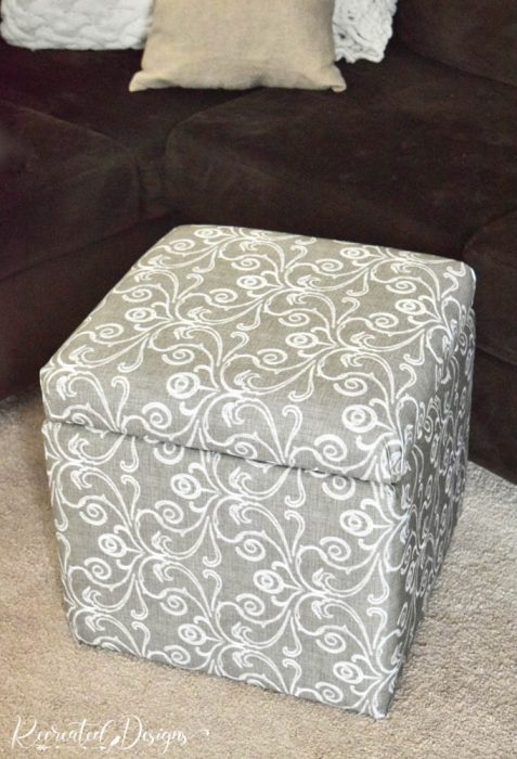 reupholstered storage cube