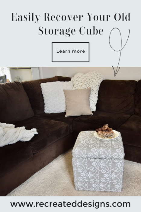 fabric covered storage cube in a living room