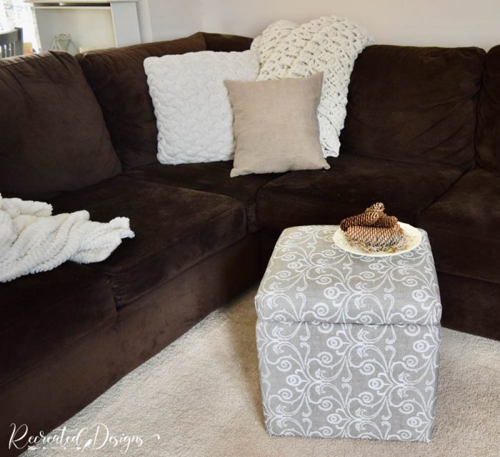 recovered storage cube in a living room