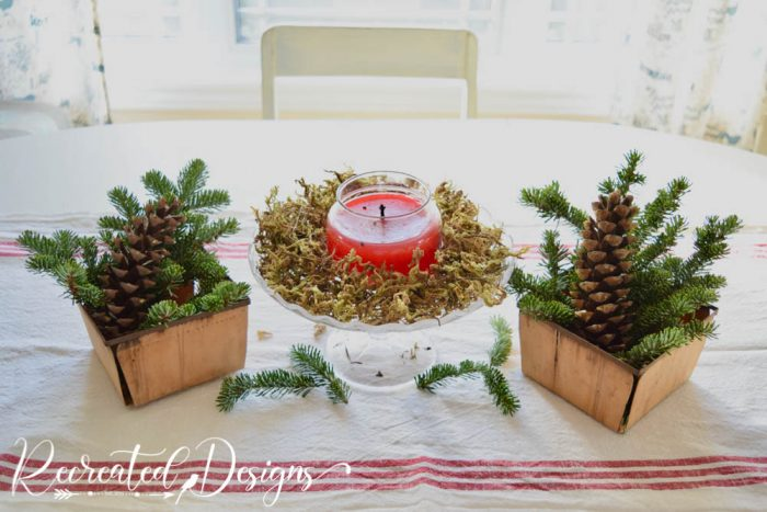greenery on a table at the holidays