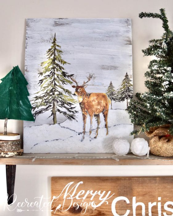 Winter Woodland art on a shelf