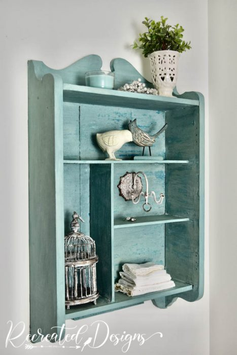 vintage shelf painted blue