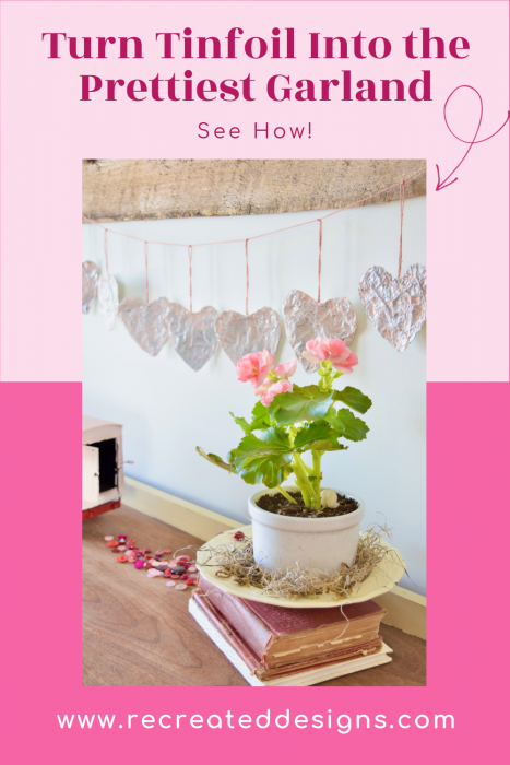 Valentine's Day garland made from tinfoil