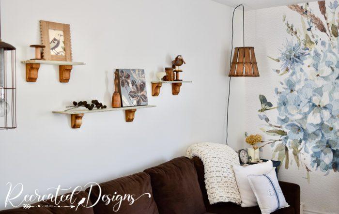 living room shelves made from a broken drawer