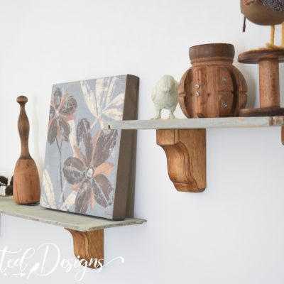 living room shelves painted with milk paint by fusion