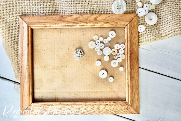old frame buttons and burlap
