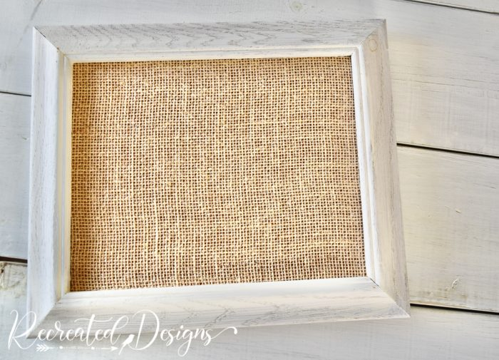 vintage frame painted white with burlap