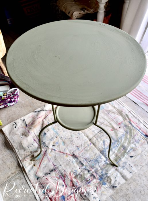 metal table painted with Annie Sloan Chateau Grey