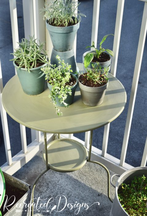 metal IKEA table painted green