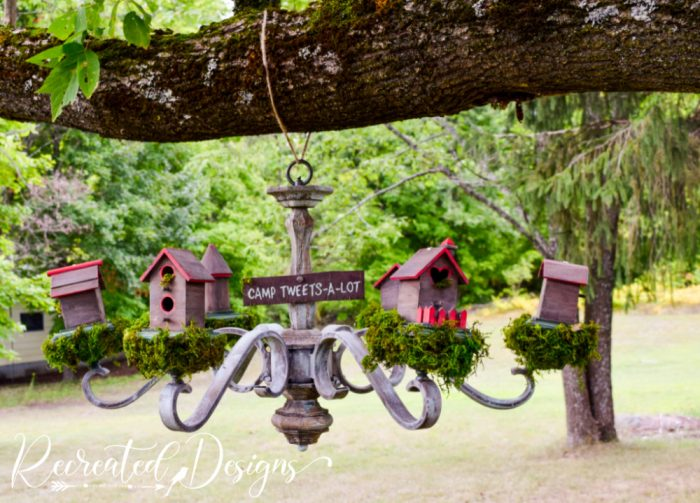 birdhouses on an old chandelier