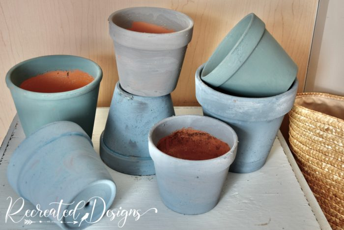 clay pots painted milk paint