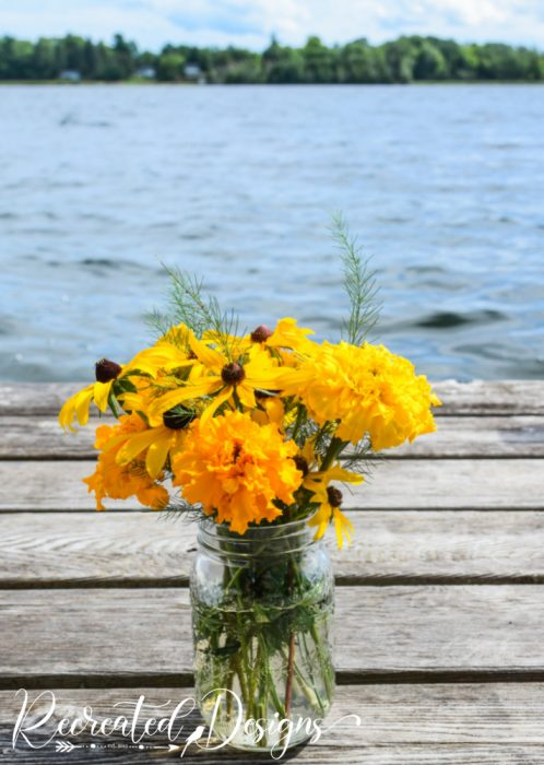 yellow flowers on a dock