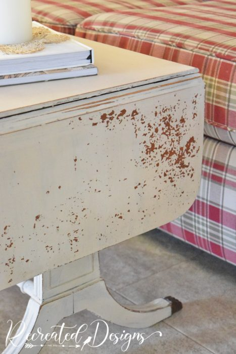 chipping milk paint on wood table