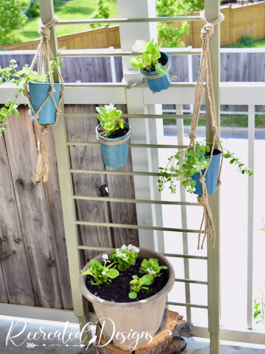upcycled crib side for plants