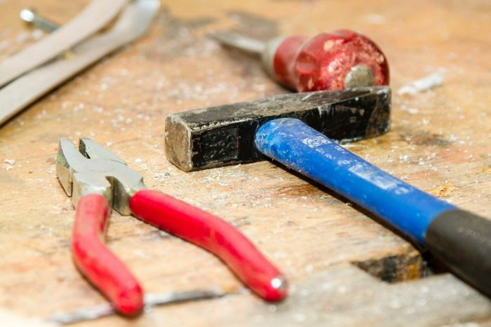 hand tools on wood