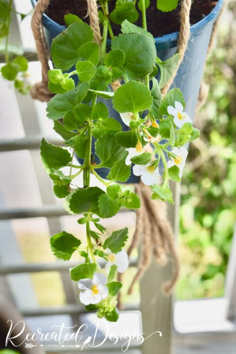hanging flowers on an upcycled crib side