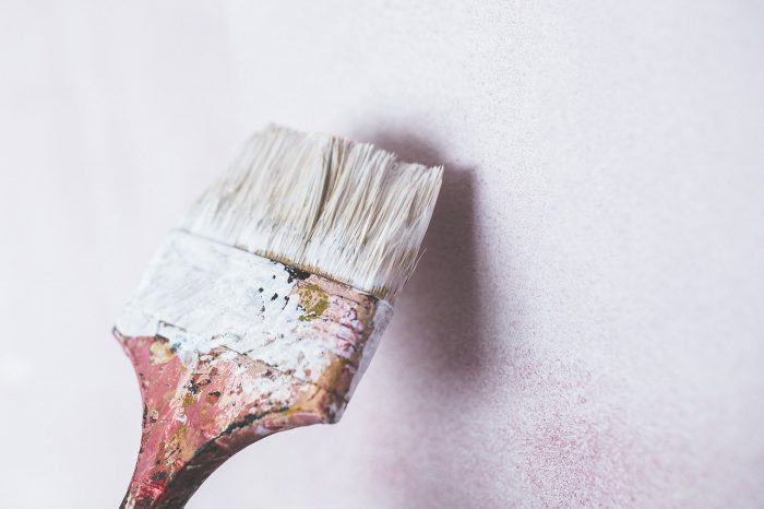paint brush with white paint