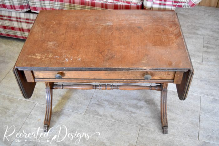 old stained coffee table