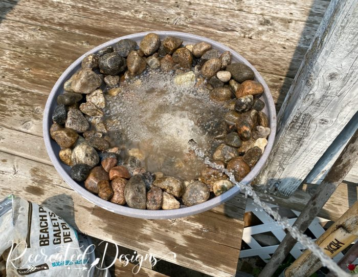 filling flower pot with water