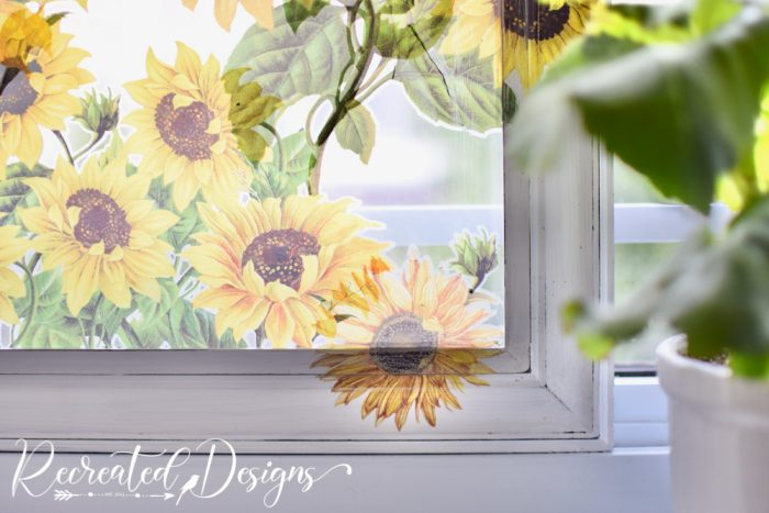 sunflower transfers on painted frame